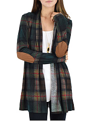 Loose Fitting Patchwork  Checkered  Knit Cardigans