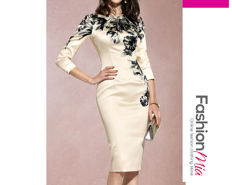 #fashions,Round Neck Floral Bodycon Dress -
