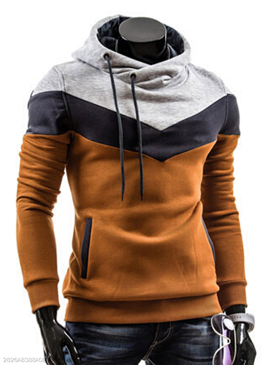 Drawstring Pocket  Color Block Men Hoodie
