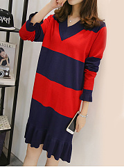 V-Neck  Color Block Shift Dress