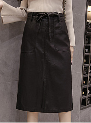 Plain-Belt-Slit-PU-Leather-Midi-Skirt