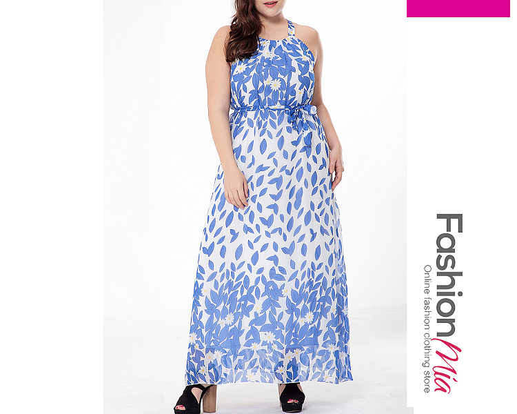 Image of Absorbing Spaghetti Strap Printed Chiffonplus Size Maxi Dress