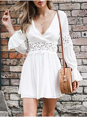Deep V-Neck  Decorative Lace  Hollow Out Lace Plain Skater Dress