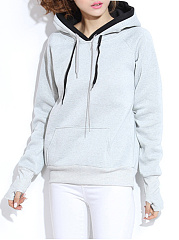 Autumn Spring  Cotton Blend  Kangaroo Pocket  Plain  Raglan Sleeve  Long Sleeve Hoodies