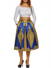Color-Block-Printed-Pocket-Flared-Midi-Skirt