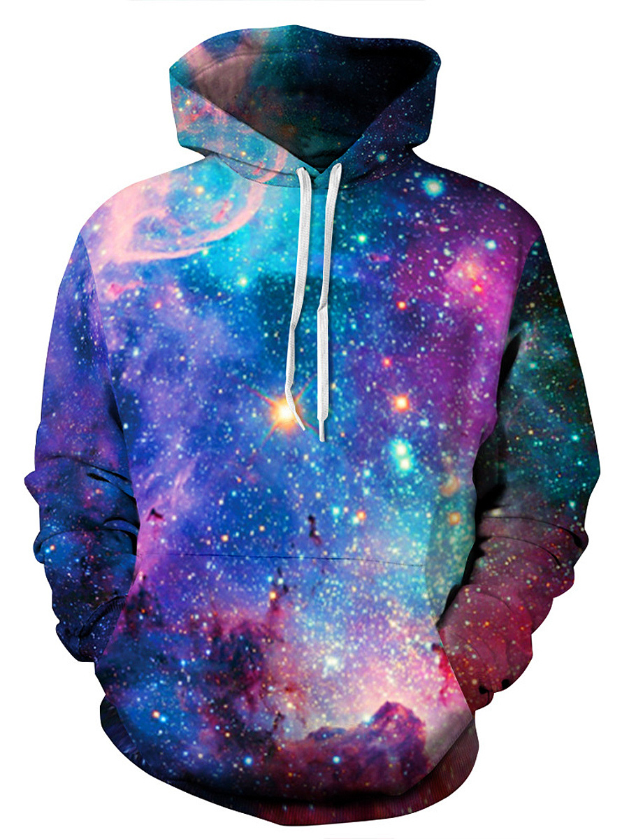 Kangaroo Pocket Galaxy Printed Men Hoodie