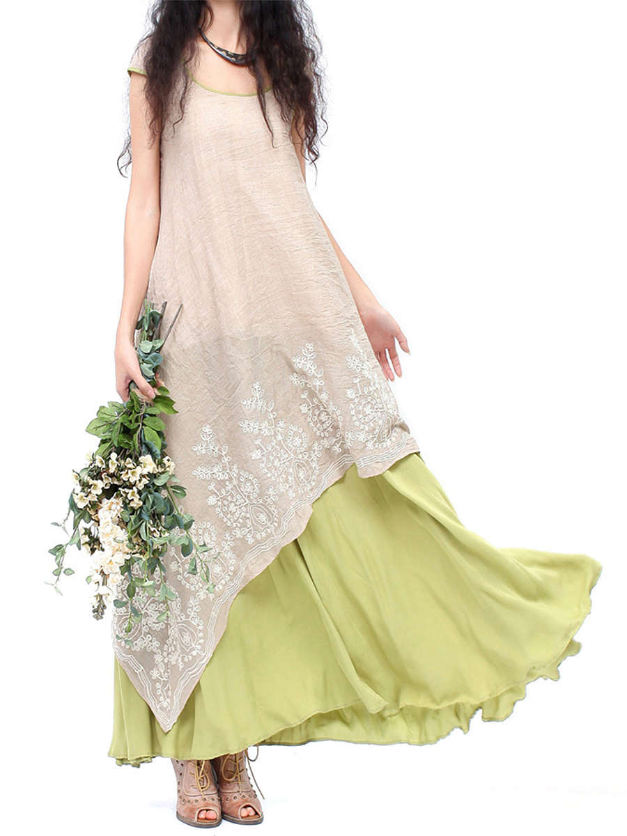 Round Neck Color Block Embroidery Flared Maxi Dress