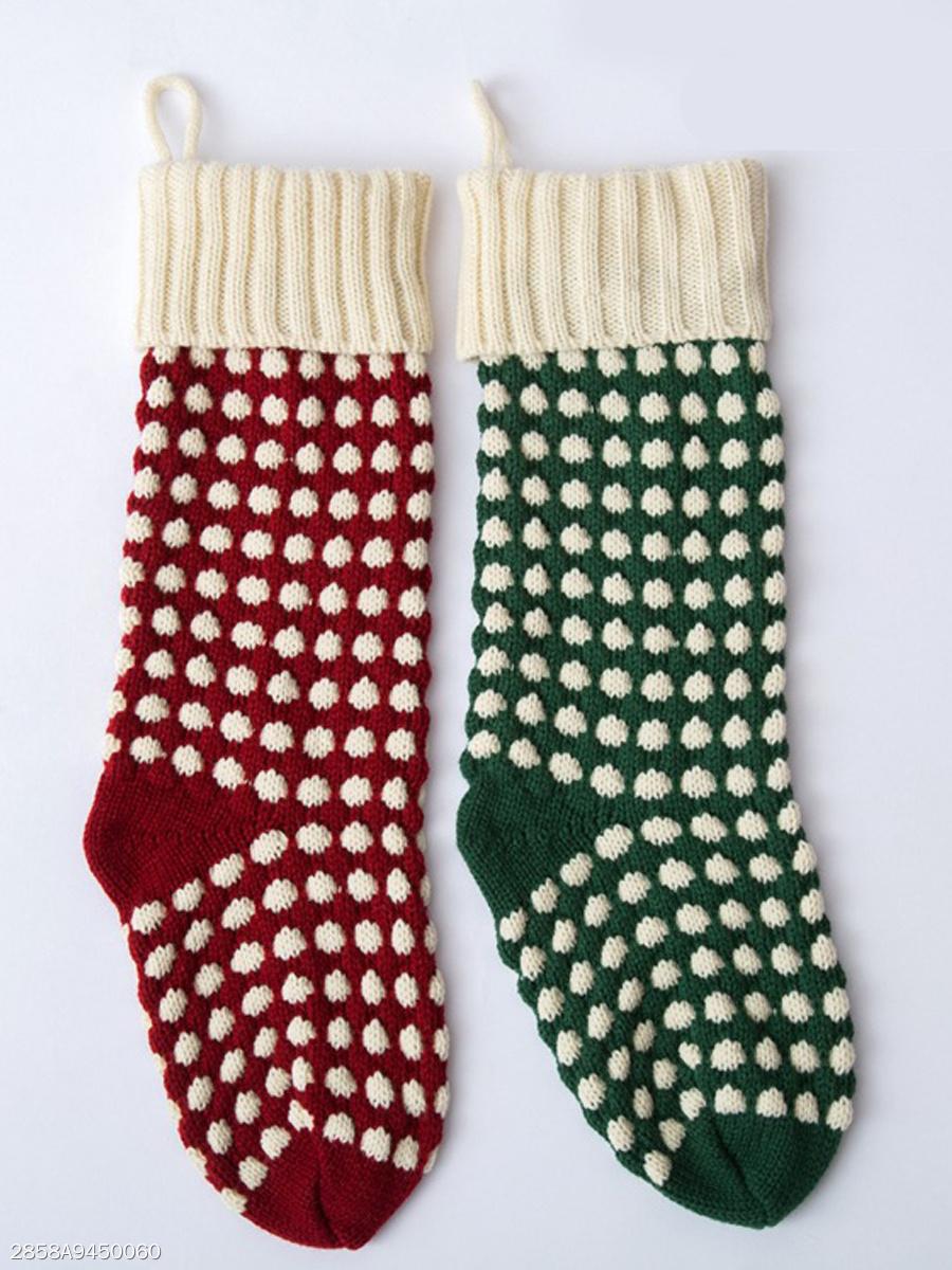 Color Block Polka Dot Knit Christmas Stocking - fashionMia.com