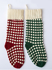 Color Block Polka Dot Knit Christmas Stocking