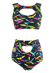 Colorful Round Neck  Cutout  Printed Bikini