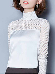Autumn Winter  Polyester  Women  High Neck  See-Through  Hollow Out Plain Long Sleeve T-Shirts