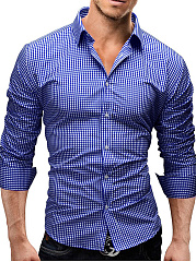 Basic-Turn-Down-Collar-Plaid-Men-Shirts