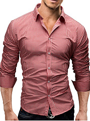Basic Turn Down Collar Plaid Men Shirts