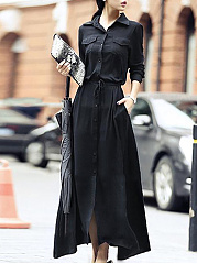 Turn-Down-Collar-Drawstring-Plain-Polyester-Maxi-Dress