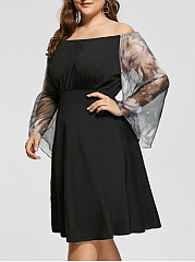 Open Shoulder  Decorative Lace  Plain Plus Size Midi & Maxi Dress