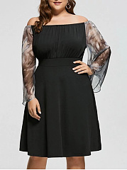 Open Shoulder  Decorative Lace  Plain Plus Size Midi  Maxi Dress