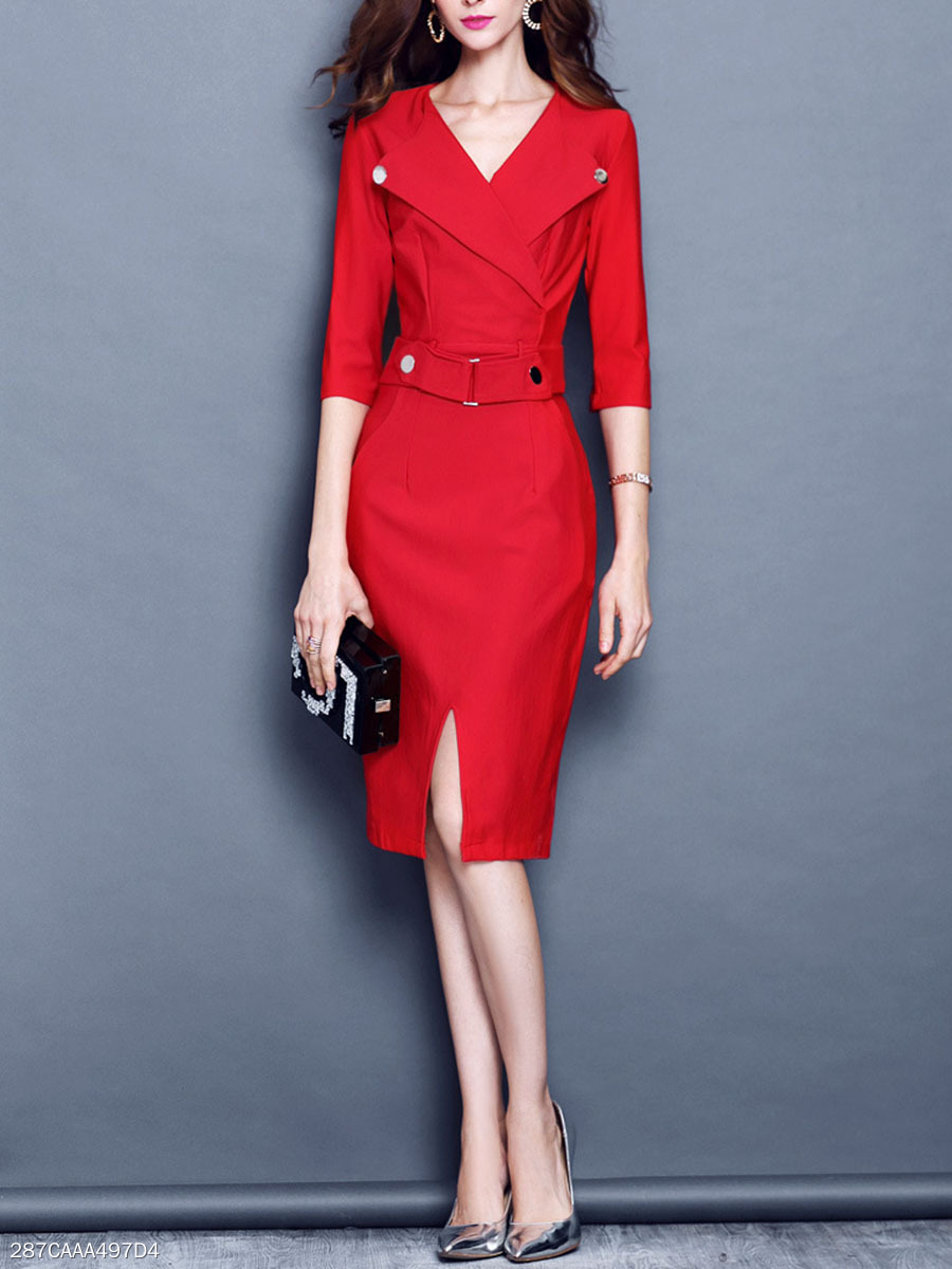 Office V-Neck Pocket Slit Bodycon Dress