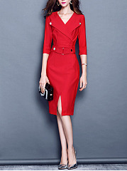 Office-V-Neck-Pocket-Slit-Bodycon-Dress