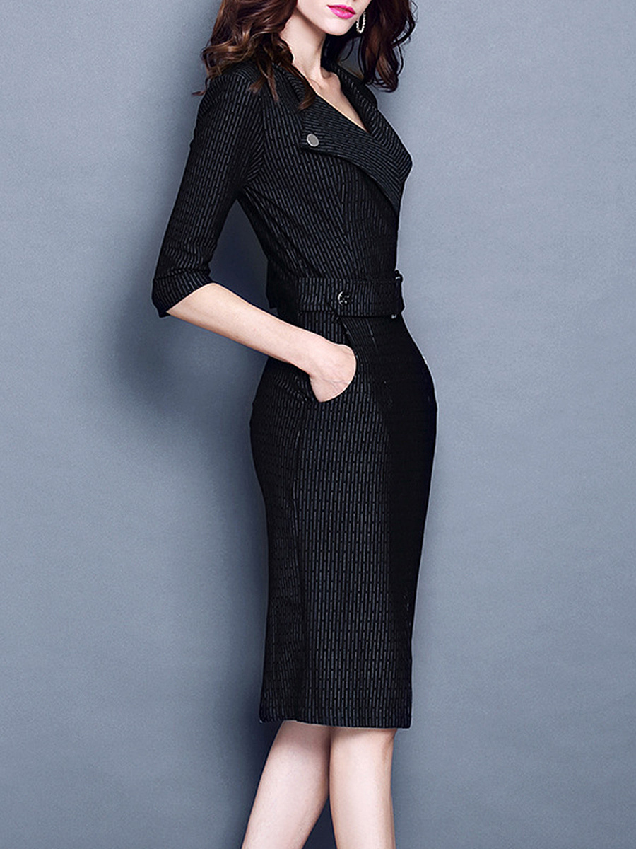 Office V-Neck Pocket Slit Bodycon Dress
