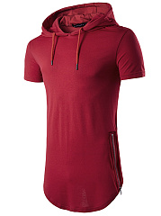 Plain Curved Hem Zips Short Sleeve Men Hoodie