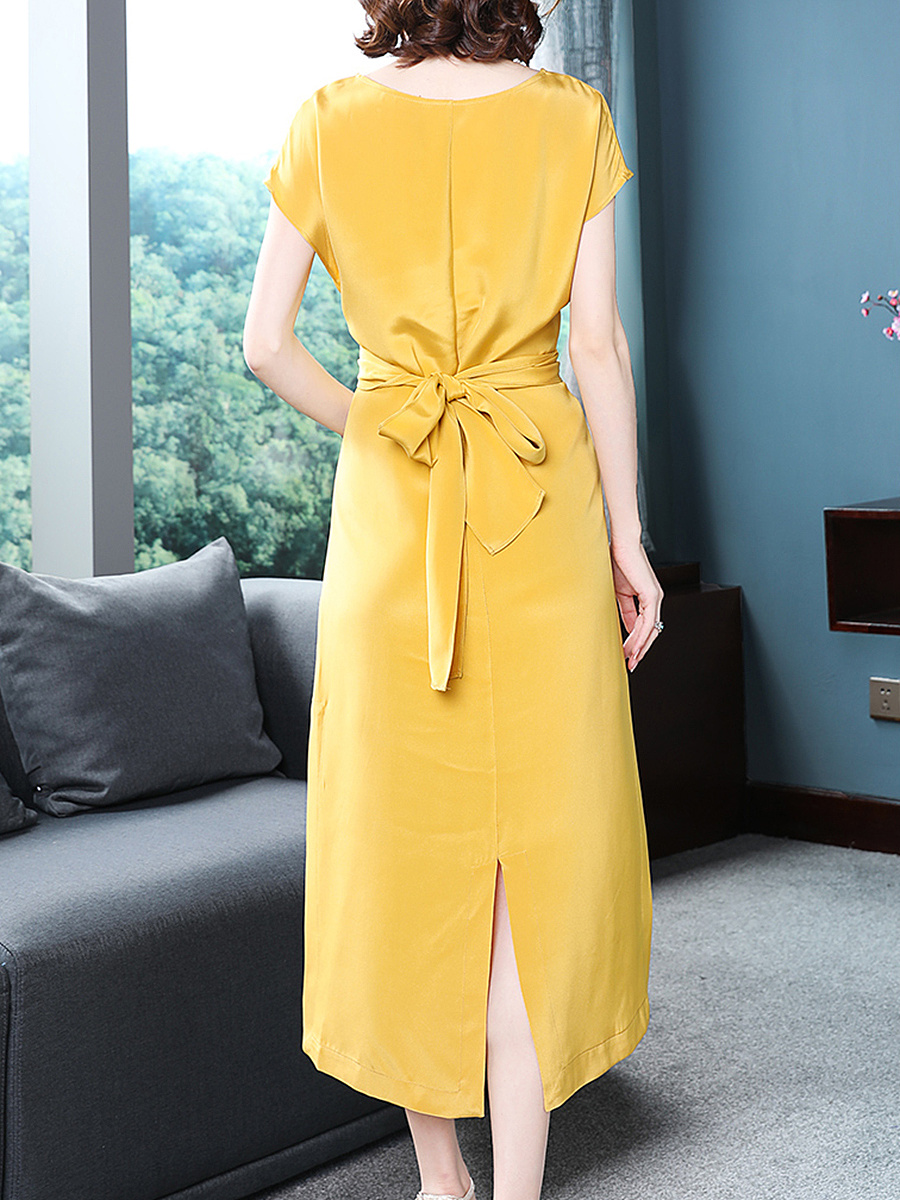 V-Neck  Lace-Up  Plain Maxi Dress