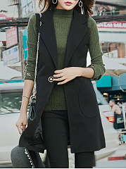 Plain Patch Pocket Single Button Lapel Waistcoat