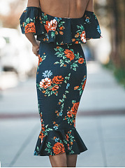 Open Shoulder  Floral Bodycon Dress