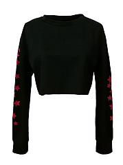 Round-Neck-Plain-Star-Long-Sleeve-Sweatshirts