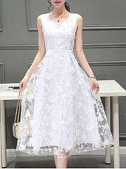 Round-Neck-Embroidery-Plain-Midi-Skater-Dress