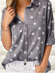 Autumn Spring Summer  Polyester  Women  Turn Down Collar  Patch Pocket Single Breasted  Polka Dot  Long Sleeve Blouses