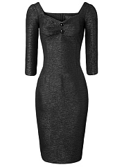 Square Neck  Plain  Blend Bodycon Dress