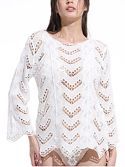 Round-Neck-Hollow-Out-Plain-Tunic