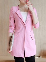 Round Neck  Single Button  Plain  Long Sleeve Blazers