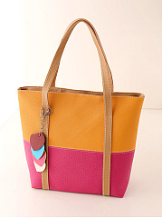 Color Block Pu Shoulder Bag