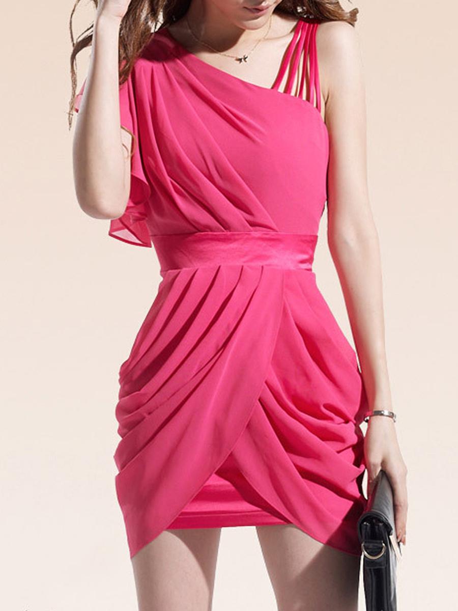 Asymmetric Neck Plain Ruched Chiffon Mini Bodycon Dress