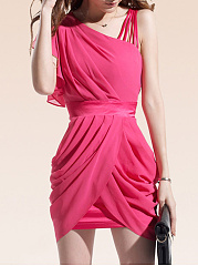 Asymmetric Neck Plain Ruched Chiffon Mini Bodycon Dress