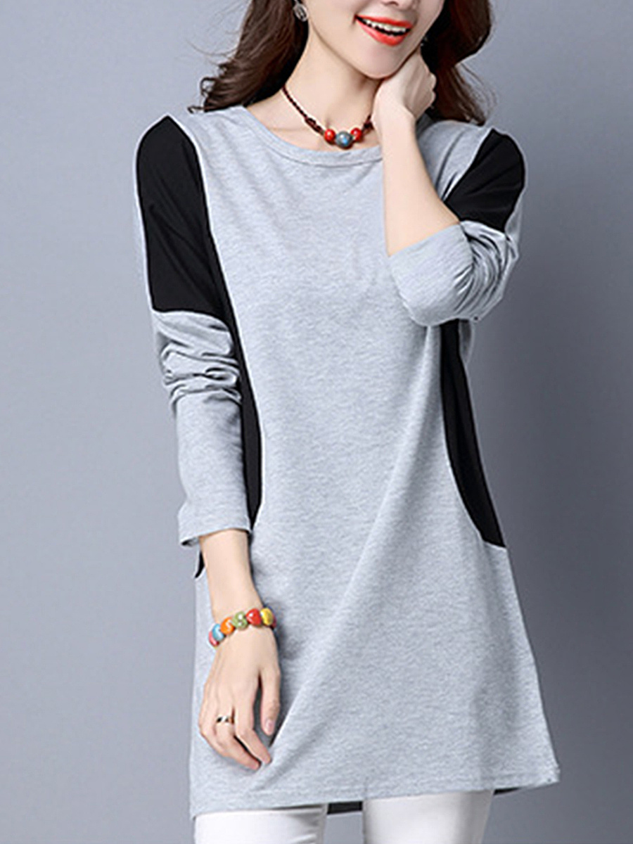 Round Neck Color Block Batwing Long Sleeve T-Shirt