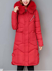 Hooded-Patch-Pocket-Quilted-Plain-Long-Padded-Coat