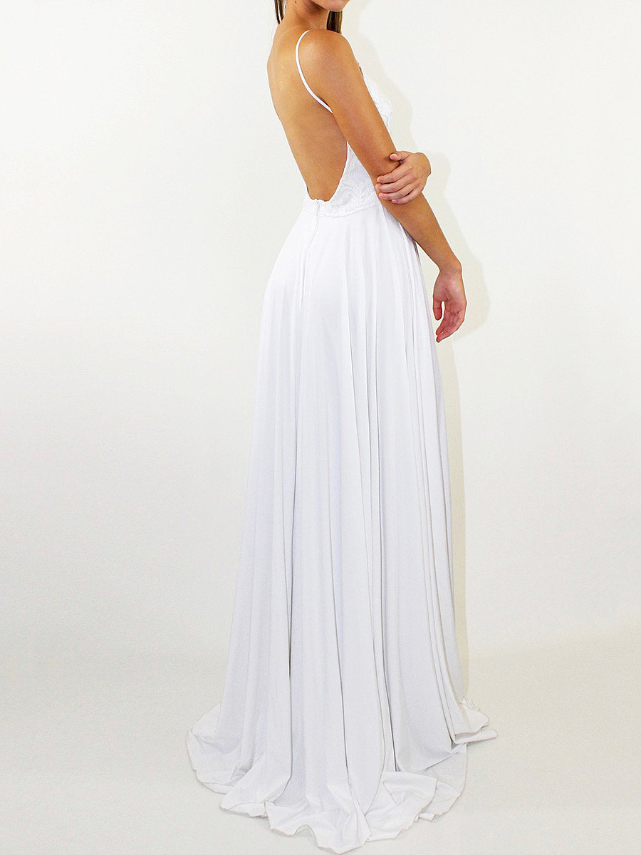 Spaghetti Strap High Slit Plain Backless Evening Dress