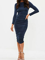 Boat Neck Backless Ruched Plain Midi Bodycon Dress