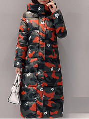 Hooded  Slit Pocket Zips  Camouflage Printed  Long Sleeve Coats