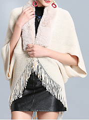 Faux Fur Collar  Fringe  Plain Cape