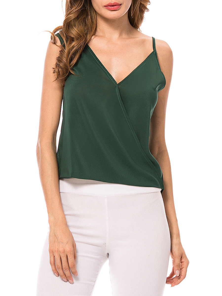 Asymmetric Neck Plain Chiffon Sleeveless T-Shirt