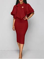 Tie-Collar-Bowknot-Plain-Ruffle-Sleeve-Midi-Bodycon-Dress