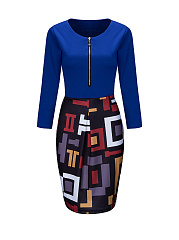 Round Neck Zips Geometric Bodycon Dress