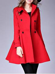 High-Neck-Double-Breasted-Plain-Woolen-Swing-Coat