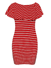 Open Shoulder  Striped Bodycon Dress
