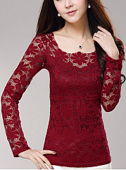 Lace See-Through Plain Long Sleeve T-Shirt