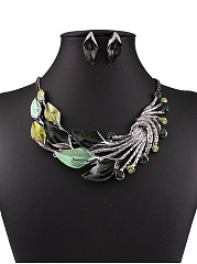 Vintage Colorful Leaves Jewelry Sets