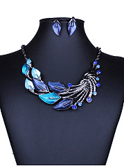 Vintage Colorful Leaves Jewelry Set